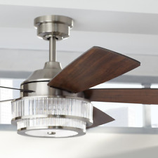 "52"" Fancy Ceiling Fan Remote Unique Crystal Light Brushed Nickel Chandelier Lamp"