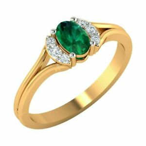 Oval Cut Emerald stone Natural Certified Diamond 14k Yellow gold Ring 5037