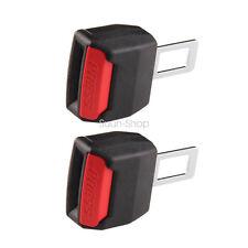 2 Pcs Car Seat Belt Clip Buckle Extender Support Safety Alarm Universal Black