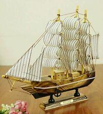 Mediterrane Sailor's Wooden Sailing Wealth Ship  Feng Shui  Lian Hua Height 18cm