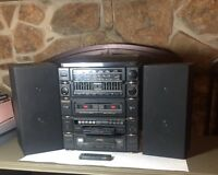 Sound Design stereo w record playr, receiver, EQ, dual cassette deck, CD & Spkrs