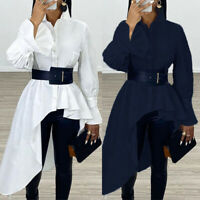 UK Womens Long Sleeve Asymmetric Hem Shirt Casual Loose Button Down Tops Blouse