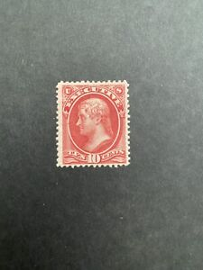 US 1873 Scott O14, 10c MH Stamp With Certificate