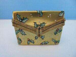 NIB Authentic Limoges Trinket Box Signed Rochard Holly / Christmas Trinket Box