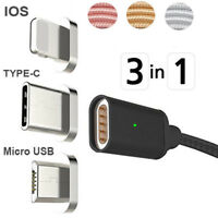 3in1 Magnetic Adapter Lightning/Type C/USB Data Sync Fast Charging Charger Cable