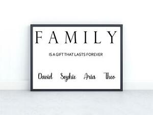 Personalised Family Print Gift Home Decor Wall Art A5 A4 Mothers Fathers Day
