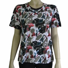 Viscose Crew Neck Semi Fitted Floral Tops & Shirts for Women
