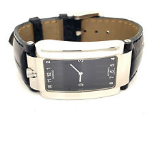 $1750 Movado Elliptica Automatic Unworn Stainless Steel Watch Black Leather