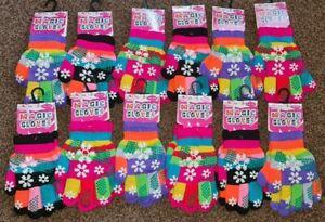 Girls Kids Babies Childrens Grip Gripper Warm Thermal Stretch Magic Gloves Snow