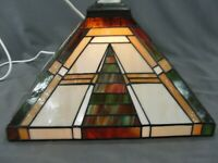 Vintage Pendant Stained Slag Glass Arts & Crafts Mission Light Shade With Wiring