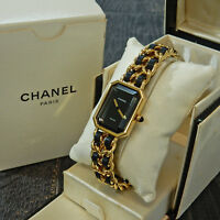 Rise-on CHANEL Premiere L Size Gold Plated Black Leather Ladies Wrist Watch #23