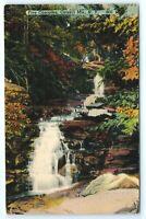 Vintage Linen Postcard Five Cascades Catskill Mountains New York NY