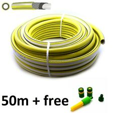 50M GARDEN HOSE PIPE REEL & FITTINGS REINFORCED TOUGH OUTDOOR HOSEPIPE Yellow