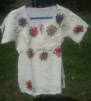Maya Mexican Blouse Top Shirt Embroidered Flowers Chiapas White Small S #3W