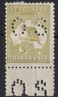 K999) Australia 1922 3d Yellow Olive die IIB 3rd wmk Kangaroo perf OS,