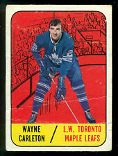 1967 68 TOPPS #77 WAYNE CARLETON VG RC TORONTO MAPLE LEAFS ROOKIE CARD