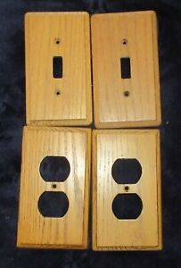 lot 4 brown wood light switch electrical outlet cover wall plate