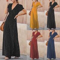 Belle Femme Simple Col V Manche Courte à Pois Longue Fête Robe Dresse Maxi Plus