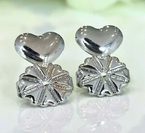 1 Pair Earring Lifters Silver Women Earring Backs for Droopy Ears Hypoallergenic