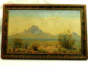 "Red Mountain AZ. Oil on Canvas  L. Hall 20th Century American 12""x20"" circa1920"