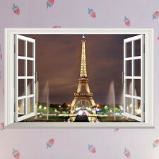 AU STOCK 3D Window Paris Eiffel Tower Decal Wall Sticker Room Decor Removable
