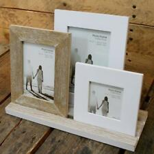 Rustic 3 Wooden Photo Frames On Tray Distressed Lime Washed Style RH0019