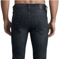 True Religion Men's Rocco Distressed Skinny Stretch Jeans in Black Dark Asteroid