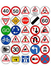 30 ROAD TRAFFIC SIGNS PRE-CUT FAIRY CUP CAKE EDIBLE RICE WAFER PAPER TOPPERS