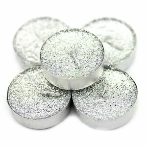 15 x Sparkling Silver Gliter TEA LIGHTS CANDLE WEDDING CELEBRATIONS SPECIAL GIFT