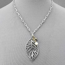 Rhodium Silver Chain Necklace Metal Leaf Pendant Pearl Gold Dove Charms