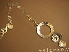 """SILPADA N1709 Three Disk Swril Circle Hammered Pendant Necklace Sterling 925 19"""""""