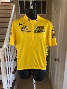 Nike Mens Cycling Yellow Jersey Credit Lyonnais Le Tour de France Made Italy XL