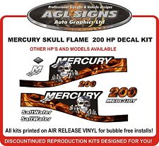 MERCURY 200 hp Saltwater Skull Flame Decals  115 125 150 175 200 225 250 hp
