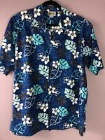 Vintage ALOHA REPUBLIC Men's Large Hawaiian Camp Shirt Floral Made In Hawaii