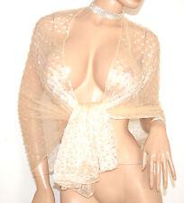 STOLA BEIGE foulard donna maxi coprispalle abito scialle seta elegante A20