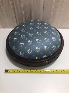 Vintage footstools ottoman fabric top wood feet