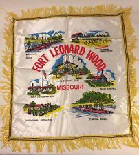Vintage US Fort Leonard Wood Silk Sweetheart Pillow Case Cover NOS Infantry
