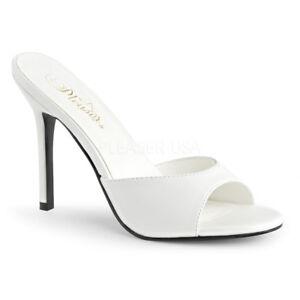 Pleaser CLASSIQUE-01 Womens White Kid Slide Mule Sandals Stiletto High Heels