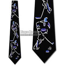 Hockey Tie Sport Neckties Stick Puck Ice Mens Blue Neck Ties Brand New