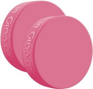 (2) Inglasco Pink Practice Official Size and Weight Ice Hockey Pucks