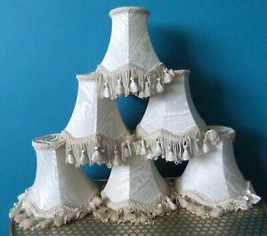 SIX Vintage Push On Cream lightshades With Tassels