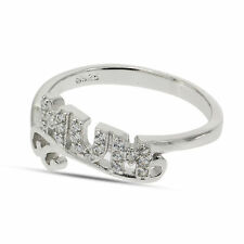 STERLING SILVER MINI SCROLL CUBIC ZIRCONIA MUM MUMMY MOTHER RING BASKET GIFT BOX