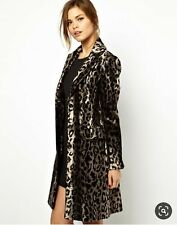 New Karen Millen Ultimate Leopard Print pony skin fur Coat Jacket Size 12 - 14