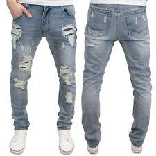 Soulstar Mens Designer Branded Slim Fit Ripped Distressed Lightwash Jeans, BNWT