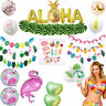 Hawaii Tropical Flamingo Pineapple Leaves Bunting Banner Balloons Summer Party