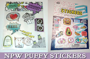 NPW 3D PUFFY STICKERS Vibe Squad Super / PAY ATTENTION GRRR Flash Heart Avocado