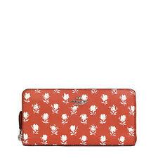 NWT Coach Badlands Floral Zip Around Wallet in Carmine Multi F 53942 $250
