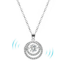 Round Circle Floating Dancing Crystal Cubic Zirconia Stone Pendant Necklace Gift