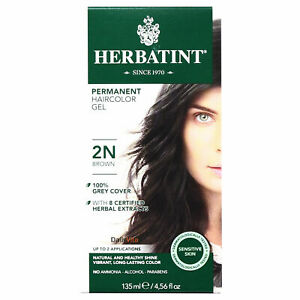 Herbatint Permanent Hair Color Gel, 2N Brown, Clearance for damaged box
