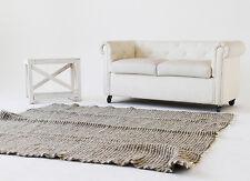 Large Wool Rug Pure 100% Wool Area Rug 200x200 cm Handmade Grey Carpet